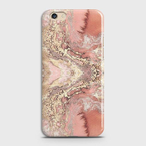 Trendy Chic Rose Gold Marble 3D Case For Oppo A59