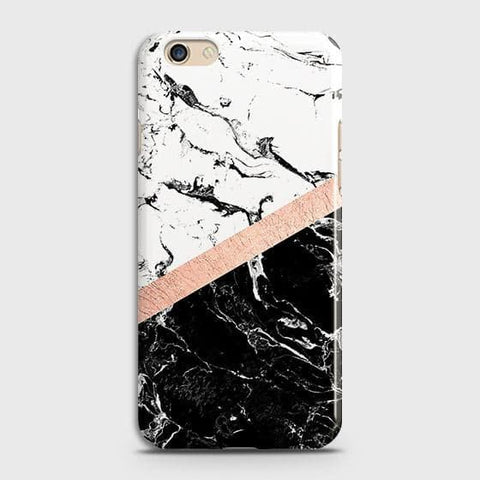 3D Black & White Marble With Chic RoseGold Strip Case For Oppo A59