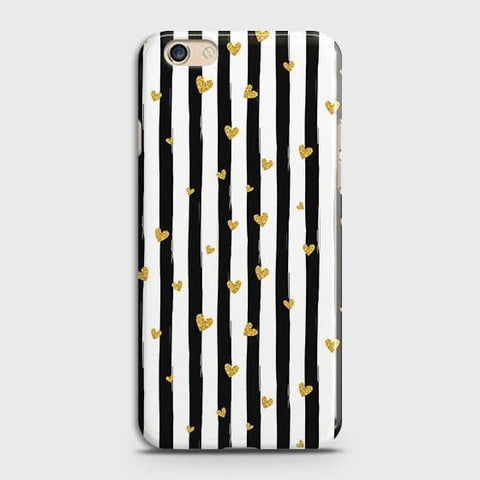 Trendy Black & White Strips With Golden Hearts Hard Case For Oppo A59