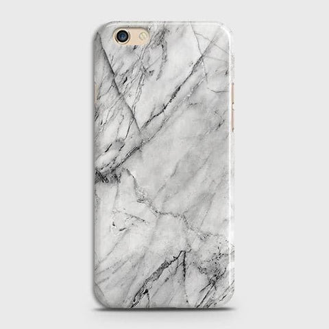 Oppo A59 Cover - Trendy White Floor Marble Printed Hard Case with Life Time Colors Guarantee