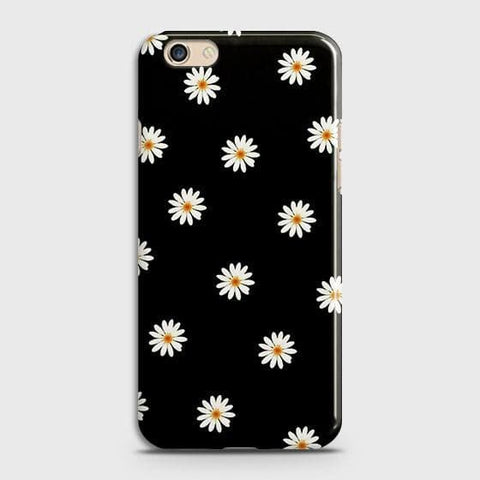 White Bloom Flowers with Black Background Case For Oppo A59