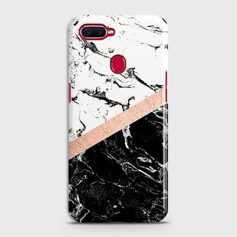 3D Black & White Marble With Chic RoseGold Strip Case For Oppo A5s