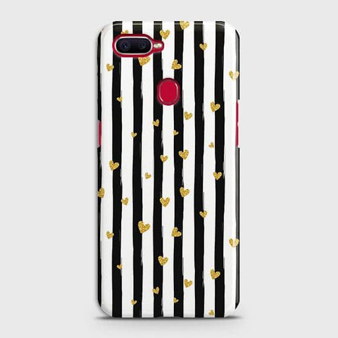 Trendy Black & White Strips With Golden Hearts Hard Case For Oppo A5s