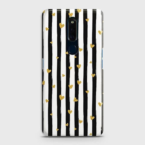 Trendy Black & White Strips With Golden Hearts Hard Case For Oppo F11