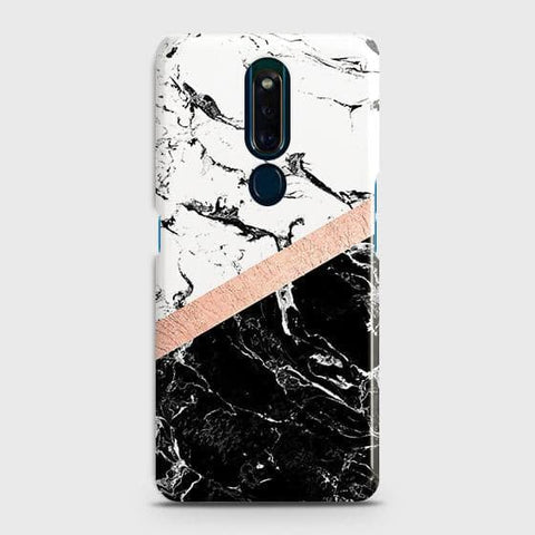 3D Black & White Marble With Chic RoseGold Strip Case For Oppo F11 Pro