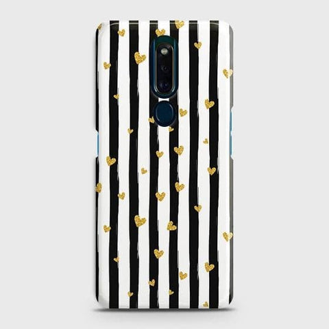 Trendy Black & White Strips With Golden Hearts Hard Case For Oppo F11 Pro