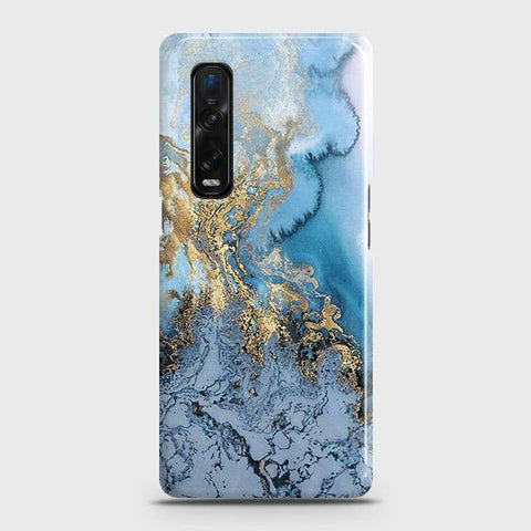 Oppo Find X2 Pro Cover - Trendy Golden & Blue Ocean Marble Printed Hard Case with Life Time Colors Guarantee
