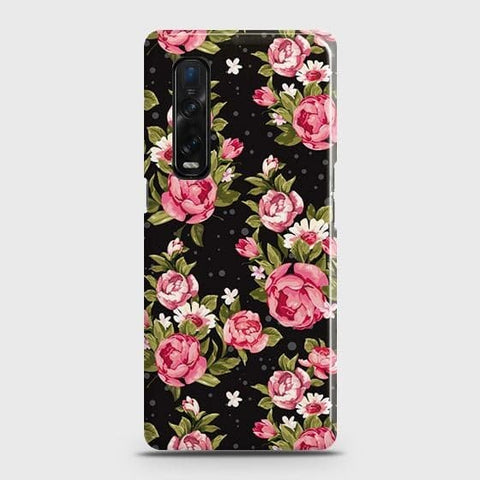 Oppo Find X2 Pro Cover - Trendy Pink Rose Vintage Flowers Printed Hard Case with Life Time Colors Guarantee