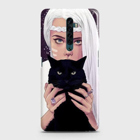 Trendy Wild Black Cat Snap On Case For Oppo Reno2