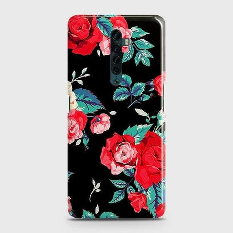 Luxury Vintage Red Flowers Snap On Case For Oppo Reno2