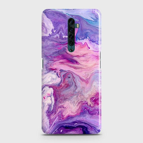 3D Chic Blue Liquid Marble Snap On Case For Oppo Reno2