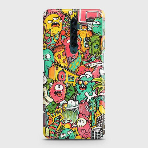 Oppo Reno 2 Cover - Candy Colors Trendy Sticker Bomb Printed Hard Case with Life Time Colors Guarantee