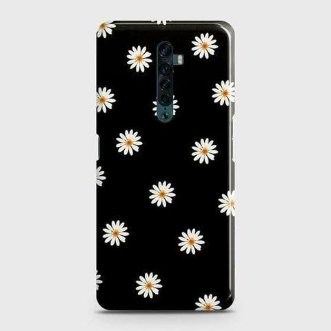 White Bloom Flowers with Black Background Snap On Case For Oppo Reno2