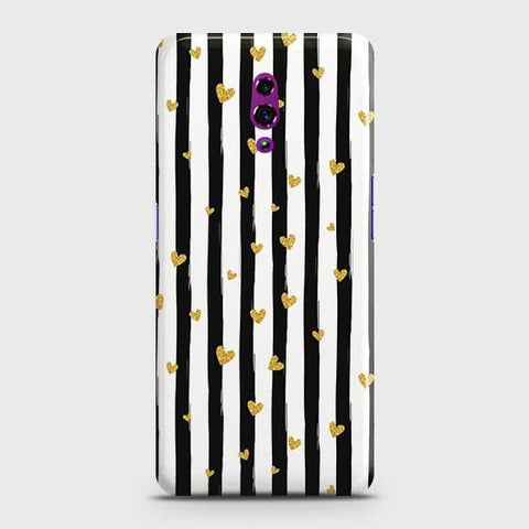 Trendy Black & White Strips With Golden Hearts Hard Case For Oppo Reno