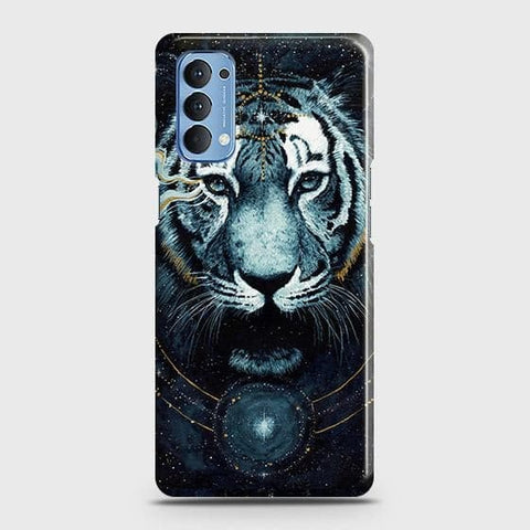 Oppo Reno 4 4G Cover - Vintage Galaxy Tiger Printed Hard Case with Life Time Colors Guarantee
