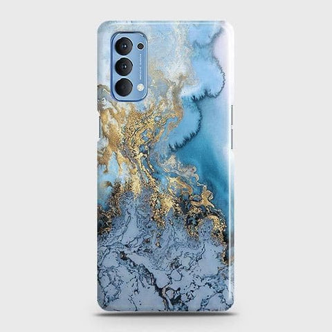 Oppo Reno 4 4G Cover - Trendy Golden & Blue Ocean Marble Printed Hard Case with Life Time Colors Guarantee