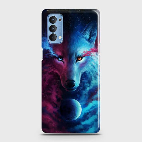 Oppo Reno 4 4G Cover - Infinity Wolf Trendy Printed Hard Case with Life Time Colors Guarantee