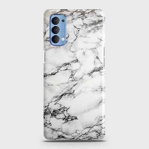 Oppo Reno 4 4G Cover - Trendy White Floor Marble Printed Hard Case with Life Time Colors Guarantee