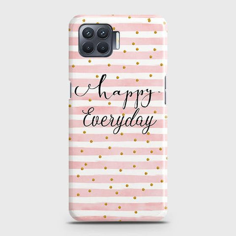 Oppo F17 Cover - Trendy Happy Everyday Printed Hard Case with Life Time Colors Guarantee