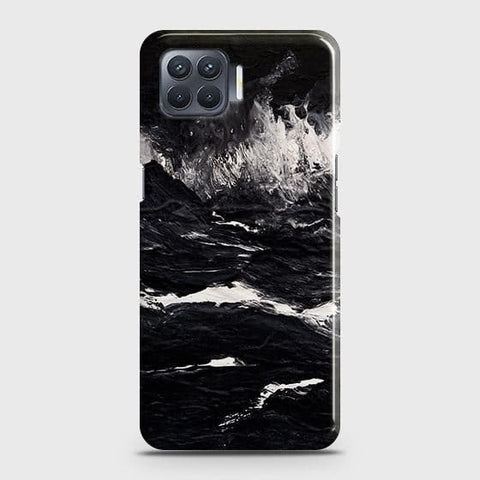 Oppo F17 Cover - Black Ocean Marble Trendy Printed Hard Case with Life Time Colors Guarantee