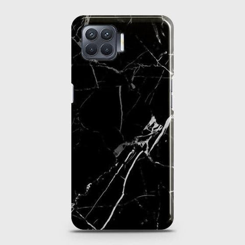 Oppo F17 Cover - Black Modern Classic Marble Printed Hard Case with Life Time Colors Guarantee