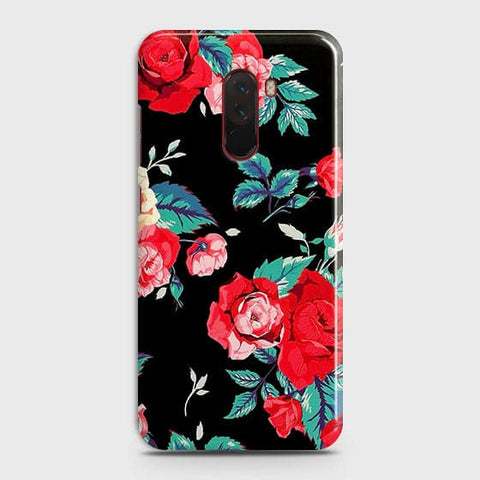 Luxury Vintage Red Flowers Case For Xiaomi Pocophone F1