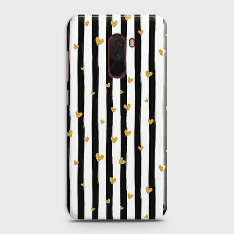 Trendy Black & White Strips With Golden Hearts Hard Case For Xiaomi Pocophone F1