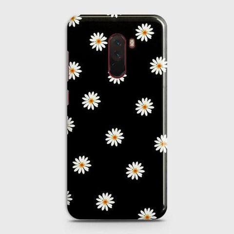 White Bloom Flowers with Black Background Case For Xiaomi Pocophone F1