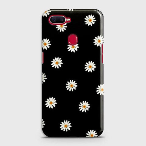 White Bloom Flowers with Black Background Case For Realme 2