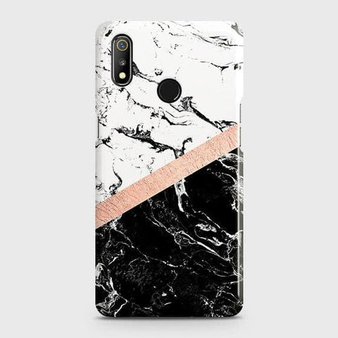 3D Black & White Marble With Chic RoseGold Strip Case For Realme 3