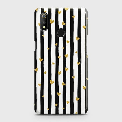 Trendy Black & White Strips With Golden Hearts Hard Case For Realme 3