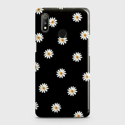 White Bloom Flowers with Black Background Case For Realme 3