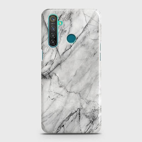 Trendy White Marble Snap On Case For Realme 5 Pro