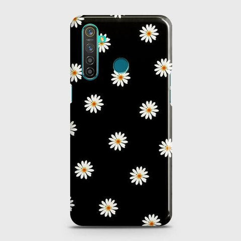 White Bloom Flowers with Black Background Snap On Case For Realme 5 Pro