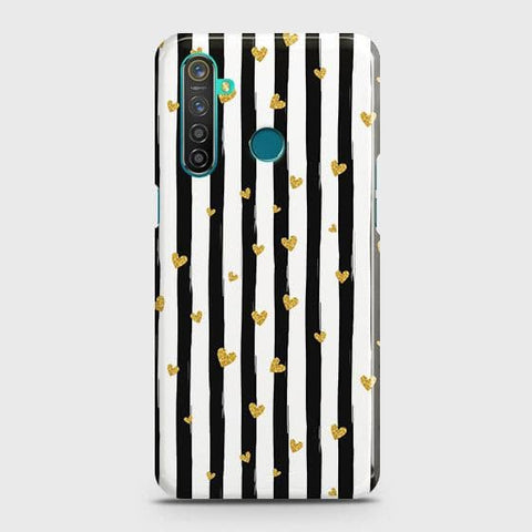 Trendy Black & White Strips With Golden Hearts Hard Case For Realme_5s