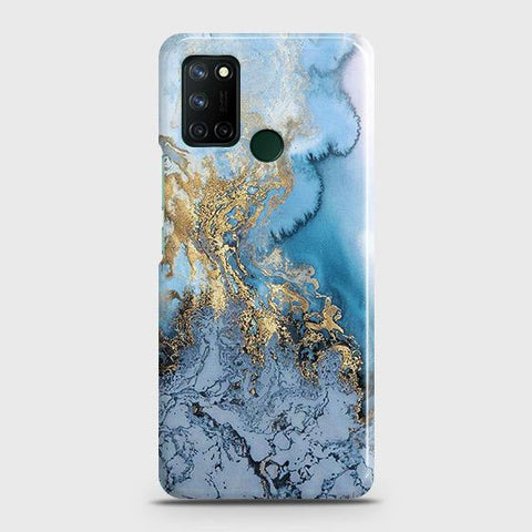 Realme 7i Cover - Trendy Golden & Blue Ocean Marble Printed Hard Case with Life Time Colors Guarantee