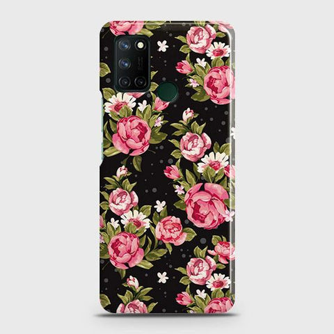 Realme 7i Cover - Trendy Pink Rose Vintage Flowers Printed Hard Case with Life Time Colors Guarantee