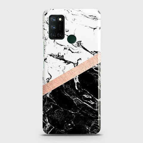 Realme 7i Cover - Black & White Marble With Chic RoseGold Strip Case with Life Time Colors Guarantee