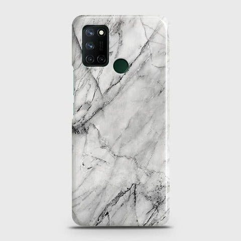 Realme 7i Cover - Trendy White Marble Printed Hard Case with Life Time Colors Guarantee