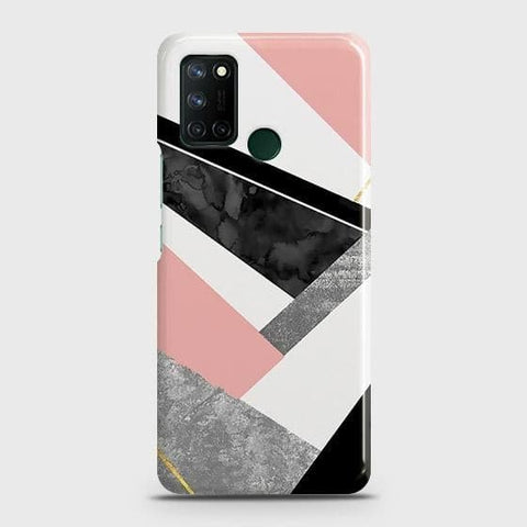 Realme 7i Cover - Geometric Luxe Marble Trendy Printed Hard Case with Life Time Colors Guarantee
