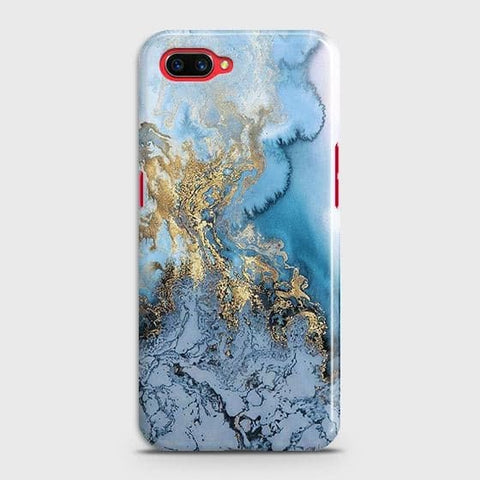 Realme C1 Cover - Trendy Golden & Blue Ocean Marble Printed Hard Case with Life Time Colors Guarantee