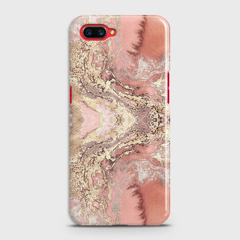 Trendy Chic Rose Gold Marble 3D Case For Realme C1