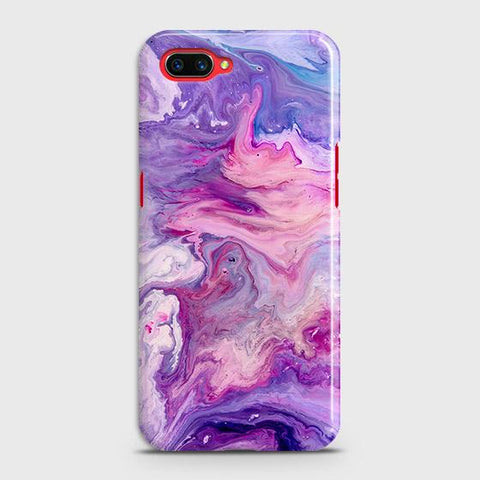 Realme C1 Cover - Chic Blue Liquid Marble Printed Hard Case with Life Time Colors Guarantee
