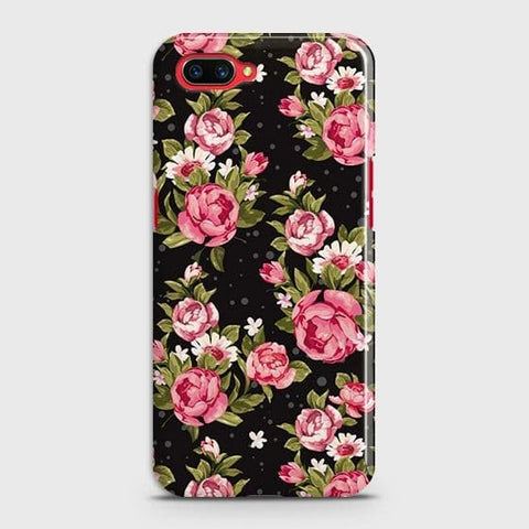 Realme C1 Cover - Trendy Pink Rose Vintage Flowers Printed Hard Case with Life Time Colors Guarantee