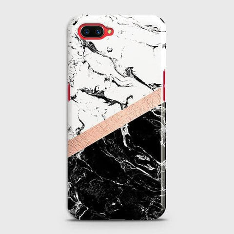 Printed Black & White Marble With Chic RoseGold Strip Case with Life Time Colors Guarantee For Realme C1