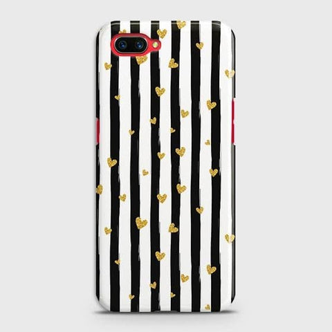 Trendy Black & White Strips With Golden Hearts Hard Case For Realme C1