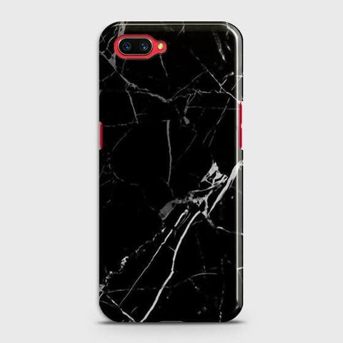 Realme C1 Cover - Black Modern Classic Marble Printed Hard Case with Life Time Colors Guarantee