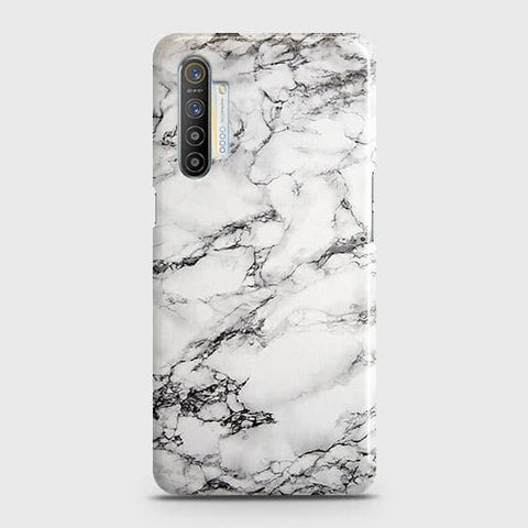 Realme XT Cover - Trendy White Floor Marble Printed Hard Case with Life Time Colors Guarantee
