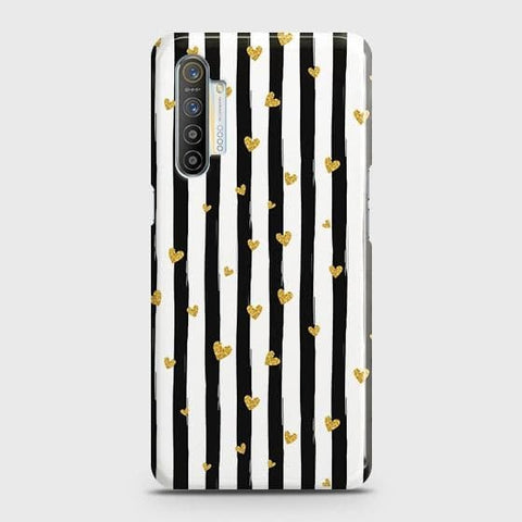 Realme XT Cover - Trendy Black & White Strips With Golden Hearts Printed Hard Case with Life Time Colors Guarantee