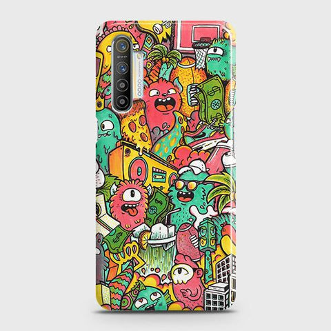 Realme XT Cover - Candy Colors Trendy Sticker Bomb Printed Hard Case with Life Time Colors Guarantee